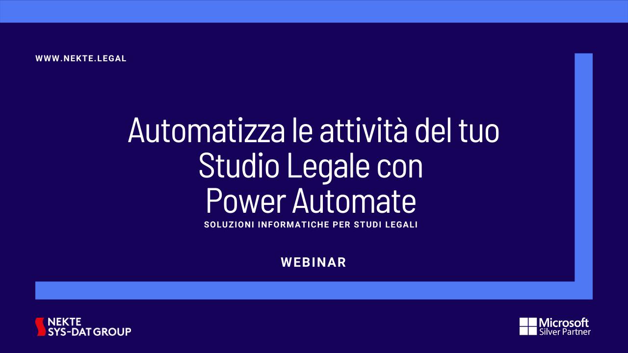 Automatizza le attività del tuo Studio Legale con Power Automate 